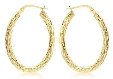 Carissima Gold 9ct Yellow Gold Patterned Creole Earrings XE7A4I11FK