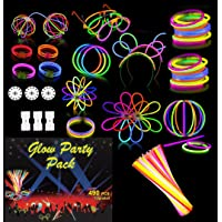 Goodern Glow Party Pack Sticks Set 490 PCS Neon Light Sticks Party Supply Decoration with Connectors To Create Glow In…