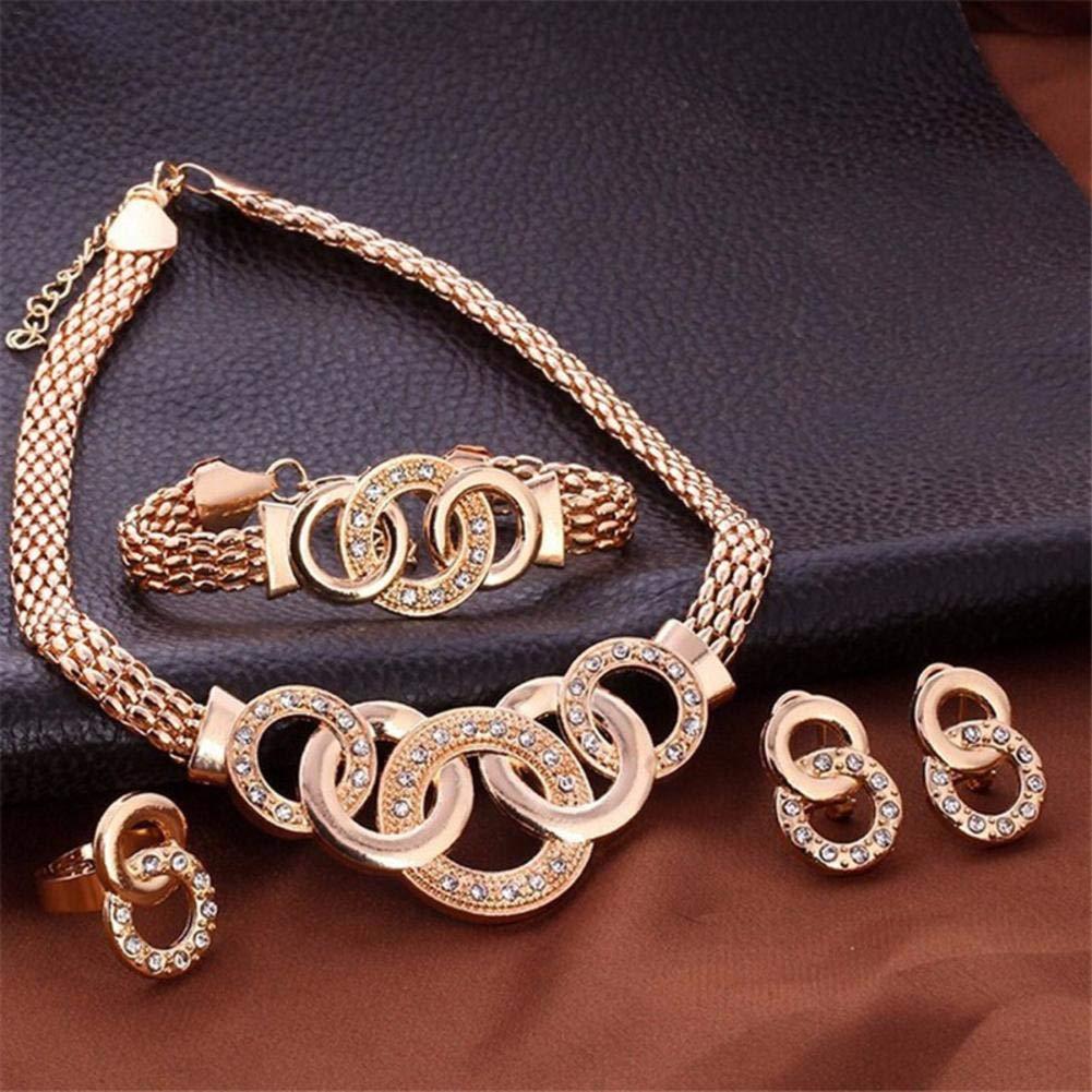 Pulsera Anillo Collar Collares y Colgantes Arete 4 PCS//Sets Traje de Cuatro Piezas