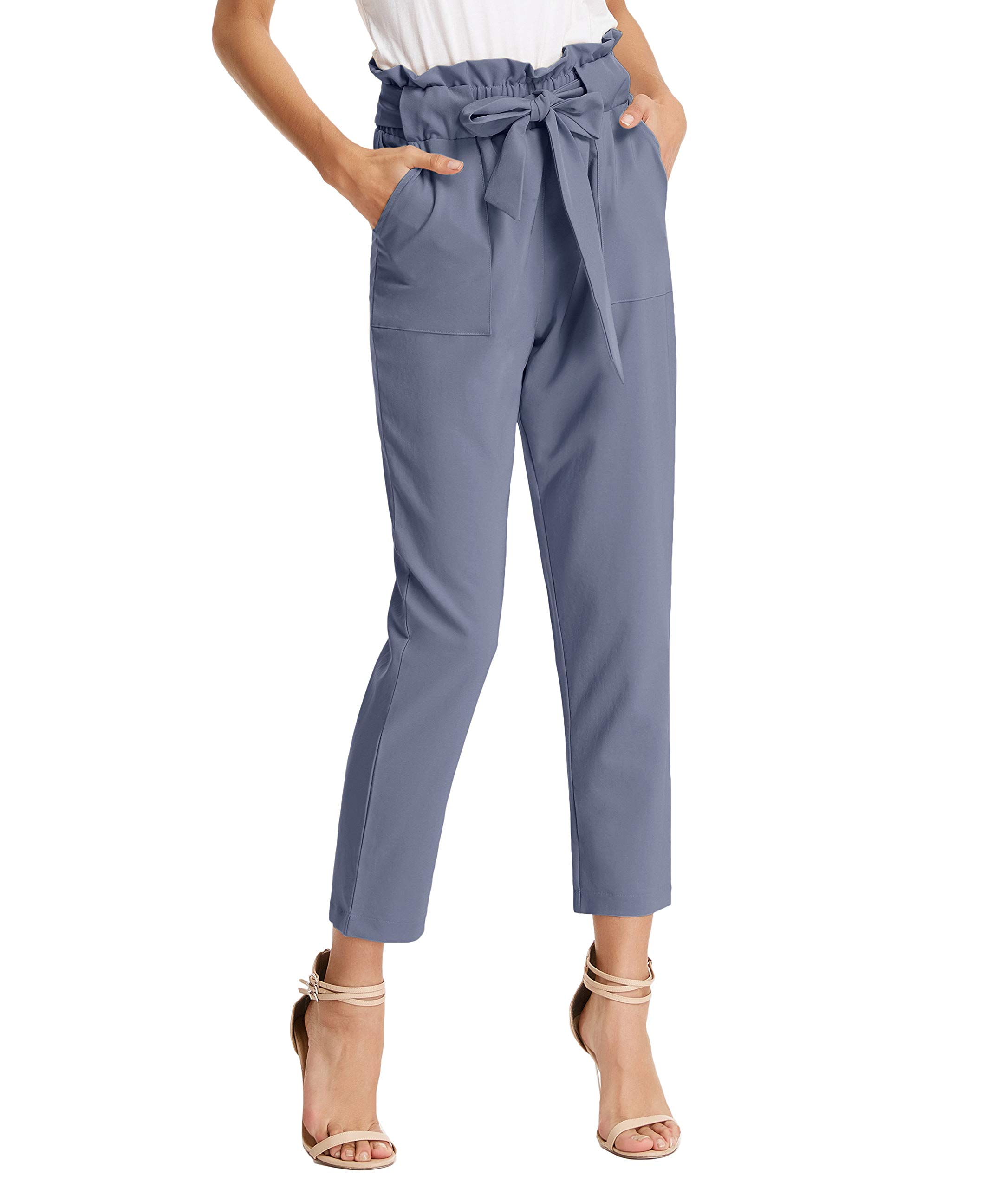 GRACE KARIN Women's Slim Straight Leg Stretch Casual Pants with Pockets M Gray Blue