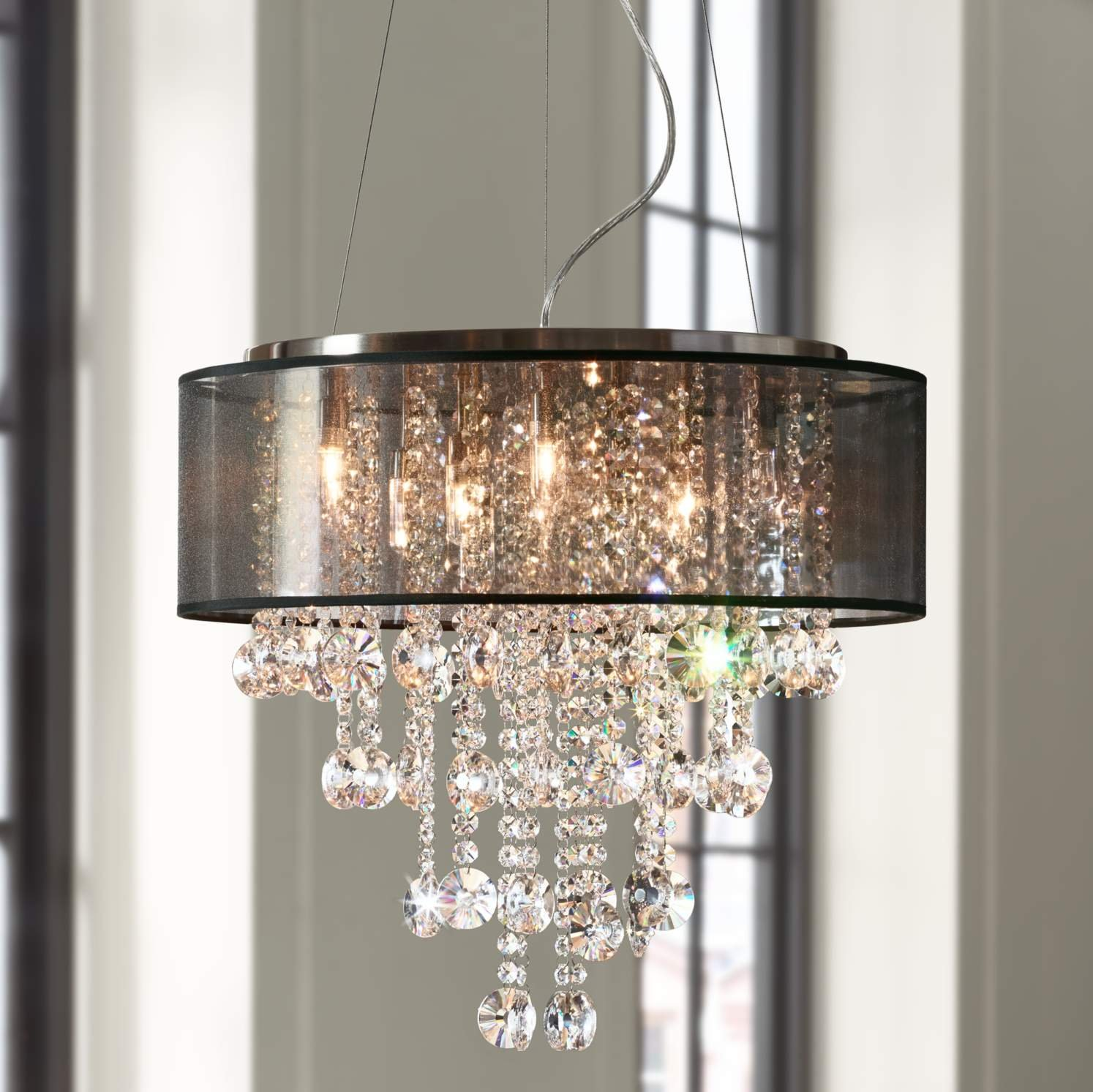 Saint Mossi Chrome Modern K9 Crystal Chandelier Lighting LED Ceiling Light Fixture Pendant Lamp for Dining Room Bathroom Bedroom Livingroom 7G9 Bulbs Required H19'' W22''