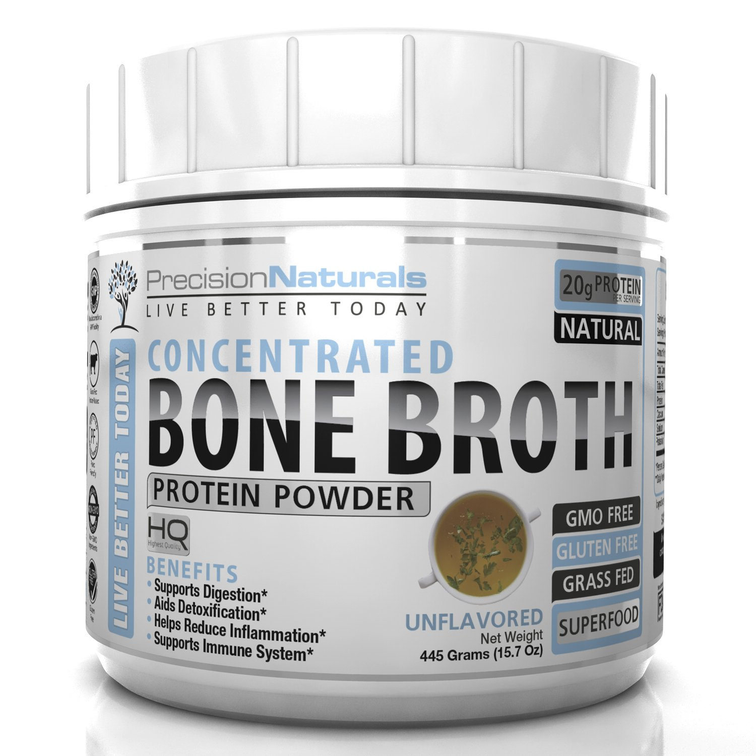 Bone Broth Protein Powder - Certified Paleo Friendly - Natural NON GMO Grass Fed Beef - Gluten Free Unflavored Ancient Form of Nutrition Made Modern 445g/15.7oz 20 Servings. Premium Collagen Peptides