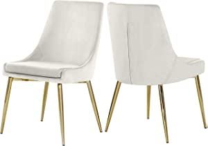 Meridian Furniture Karina Collection Modern | Contemporary Velvet Upholstered Dining Chair with Sturdy Metal Legs, Set of 2, 19.5