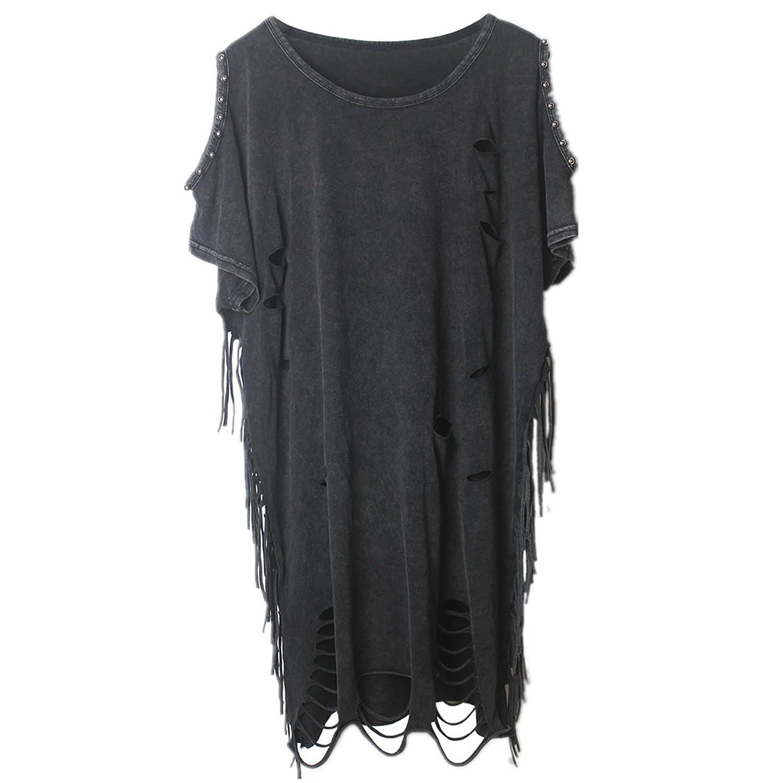 manbozix Ladies Punk Hollow Hole T Shirt Top Round Neckline Shirt with Tassel and Rivet