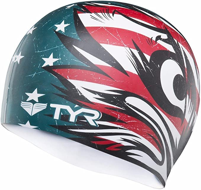 TYR Patriot - Gorro de natación (silicona), diseño de la bandera de EE.UU, color azul y rojo: Amazon.es: Deportes y aire libre