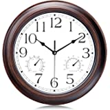 Lafocuse Mahogany Color Wall Clock with Thermometer and Humidity Vintage Silent Quartz Clocks Garage for Kitchen Living…