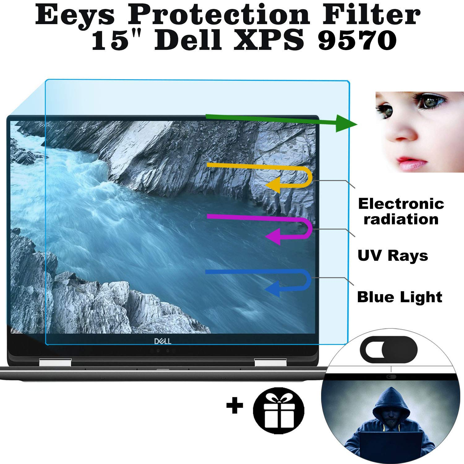 Eyes Protection Filter fit Dell XPS 15 9570 Anti Blue Light Anti Glare Screen Protector, Reduces Digital Eye Strain Help You Sleep Better by MUBUY