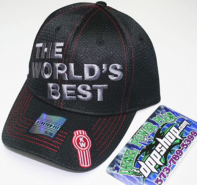 c1a8abc9349 Amazon.com : Kw kenworth the worlds best hat cap fitted embroidered mesh  s/m : Clothing