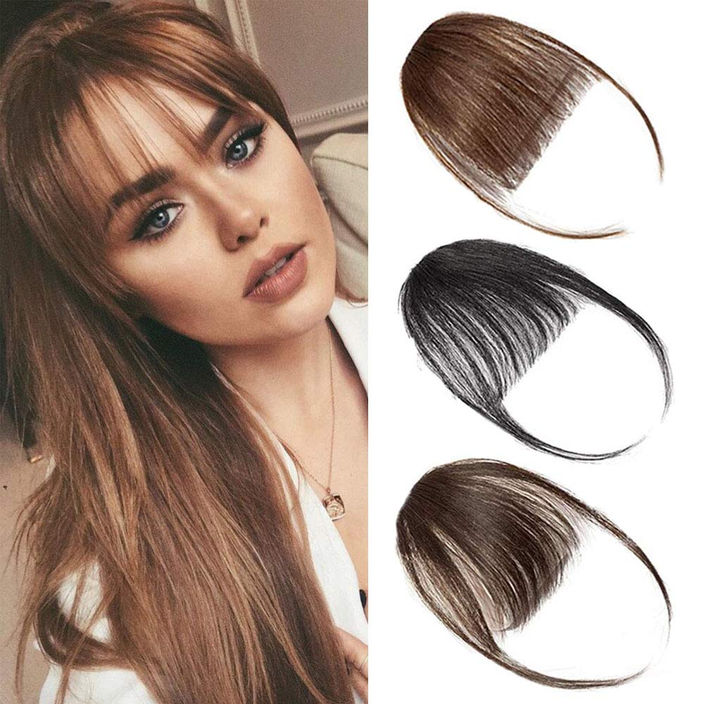 Amazon Com Front Bangs Extensions Clip In Bangs Hair Extensions Hair Clip On Bangs Natural Black Thin Hair Bangs Clip In Hairpieces For Women Beauty