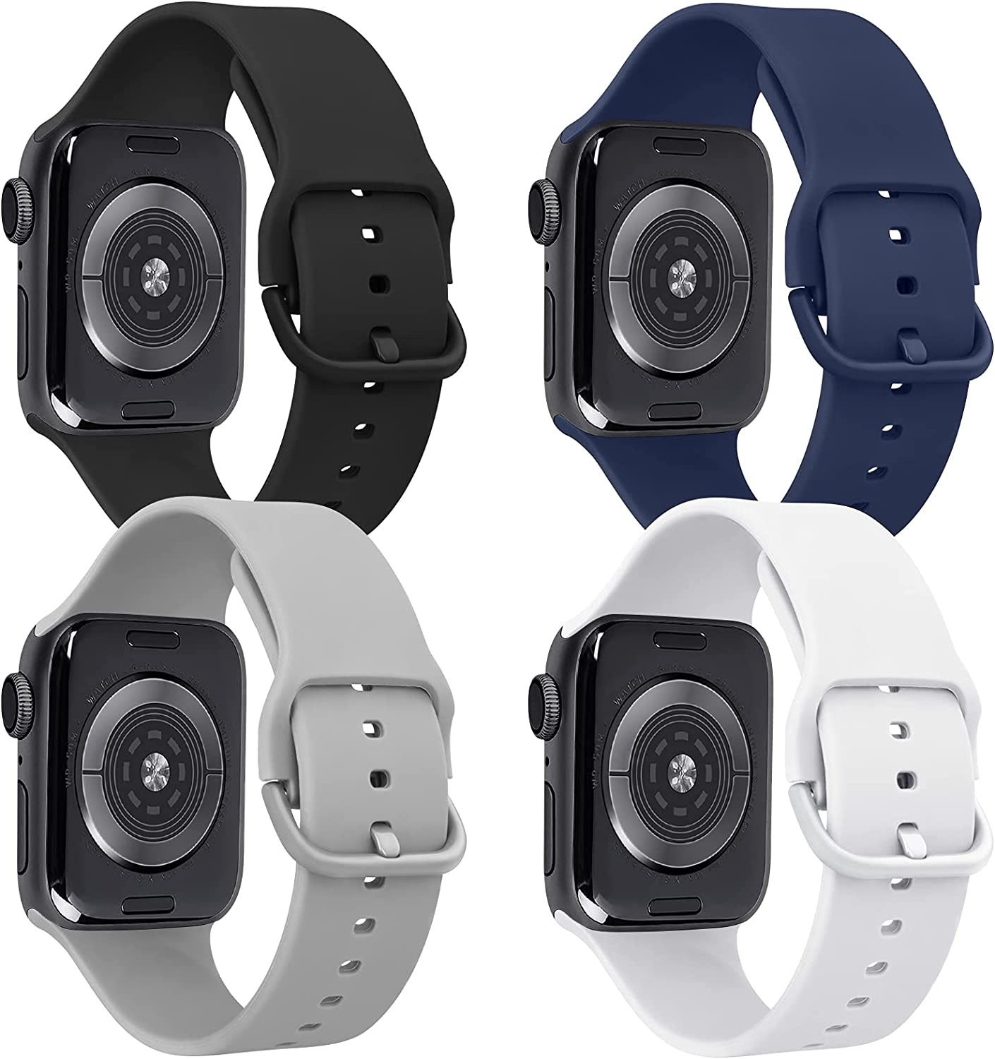 Tobfit 4 Pack Compatible for Apple Watch 38mm 40mm, Soft Sport Watchband Replacements for iWatch Series 6 5 4 3 SE (Black/Gray/White/Navy Blue, 38mm/40mm M/L)