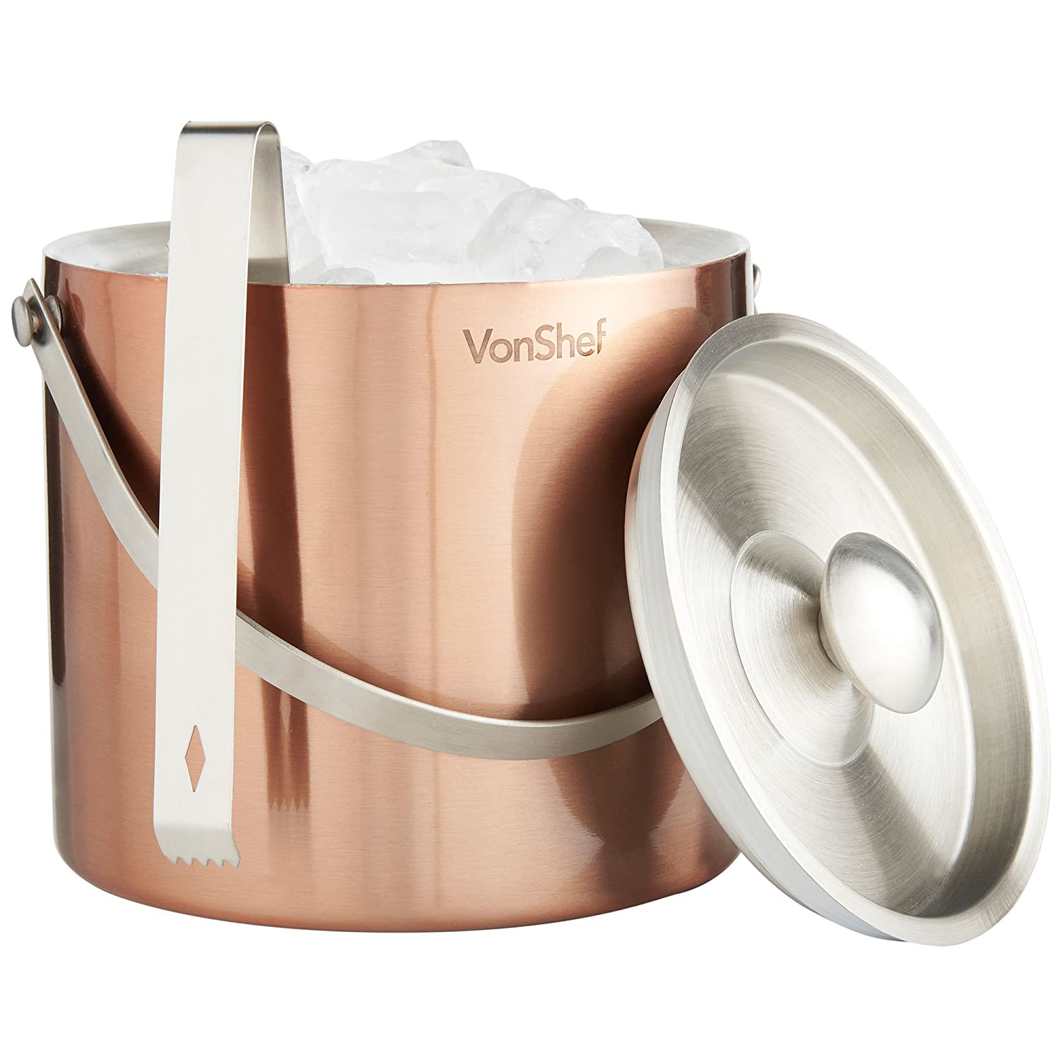 VonShef 3 Liter Copper Stainless Steel Ice Bucket Barware Kit - Double Walled Insulated with Lid, Carry Handle and Tongs Set 07/769