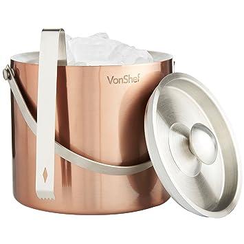 VonShef - Juego de cubitera de acero inoxidable de cobre de ...