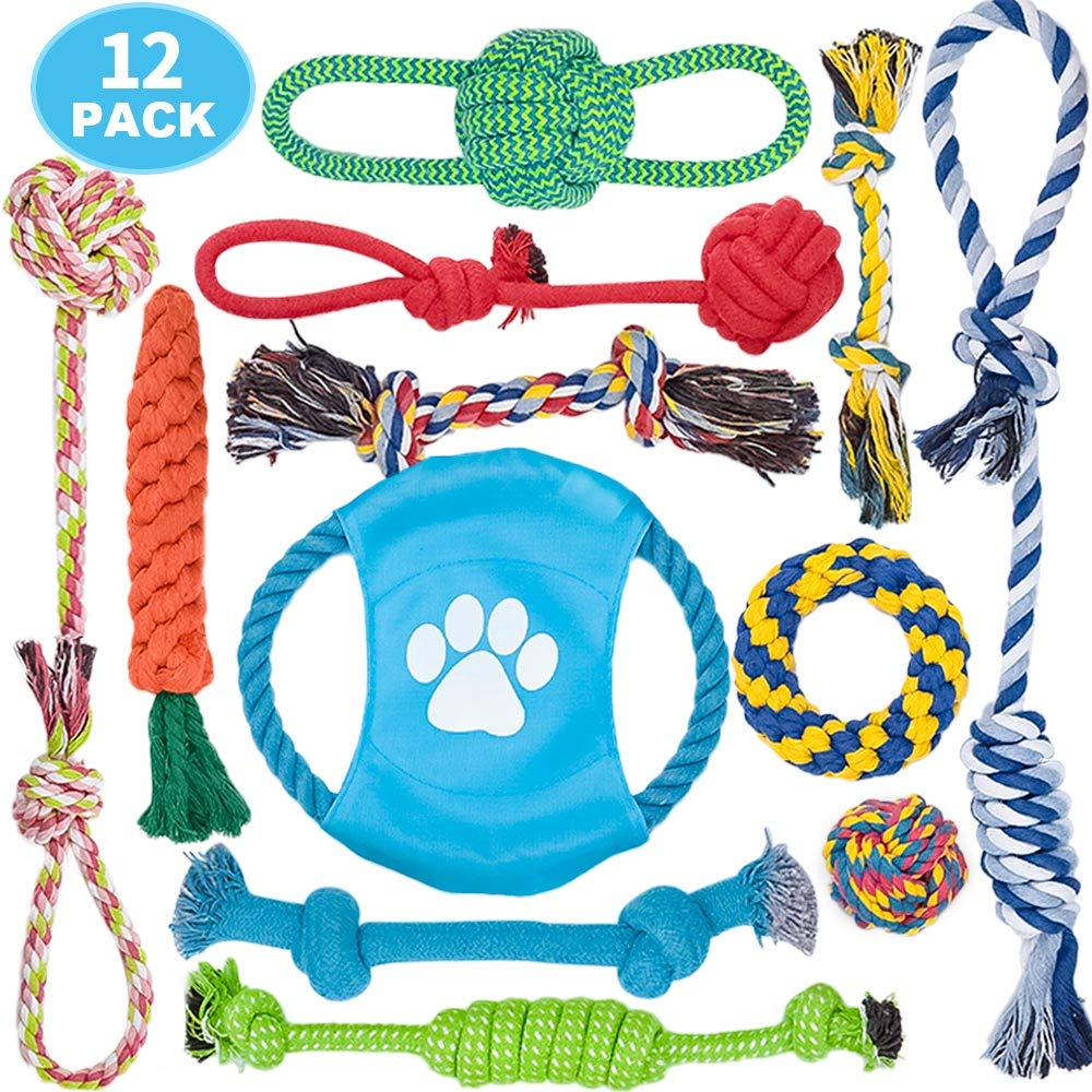 DELOMO Dog Rope Toys, 12 Pack Dog Rope Toys,Dog Chew Toys, Dog Playing Toys, Washable, Nearly Indestructible, 100% Natural Cotton Dog Rope Toy Set, Teething Toy for Small Dogs & Puppy