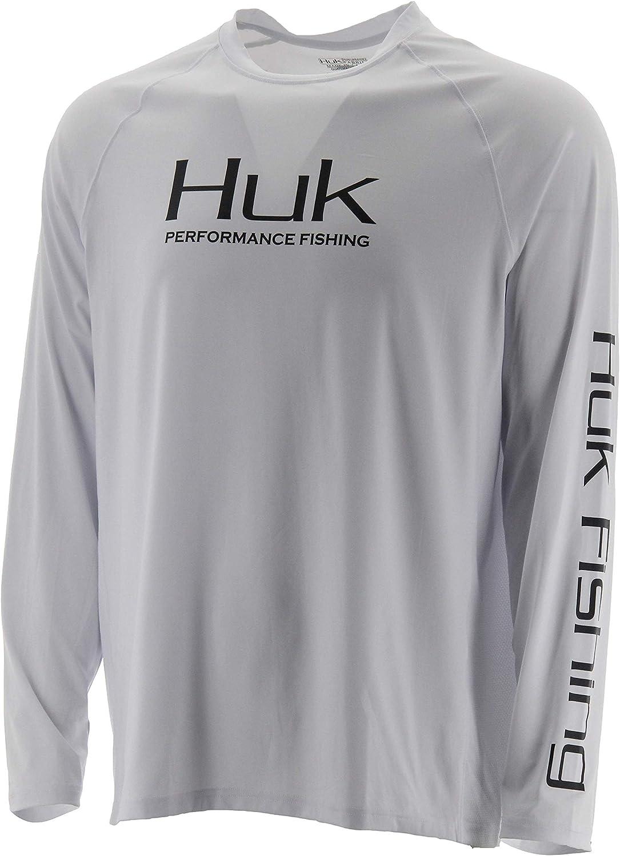 HUK Mens Pursuit Vented Long Sleeve Shirt | Long Sleeve Performance Fishing Shirt with +30 UPF Sun Protection