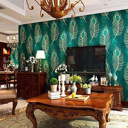 Amazon Com Zyy 3d Wallpaper Southeast Asian Style Peacock Feather