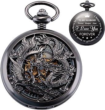ManChDa Reloj de Bolsillo para Marido, Relojes de Bolsillo Grabados, Lucky Dragon y Phoenix Relojes mecánicos de Bolsillo con Cadena para Hombre Regalo de San Valentín: Amazon.es: Relojes