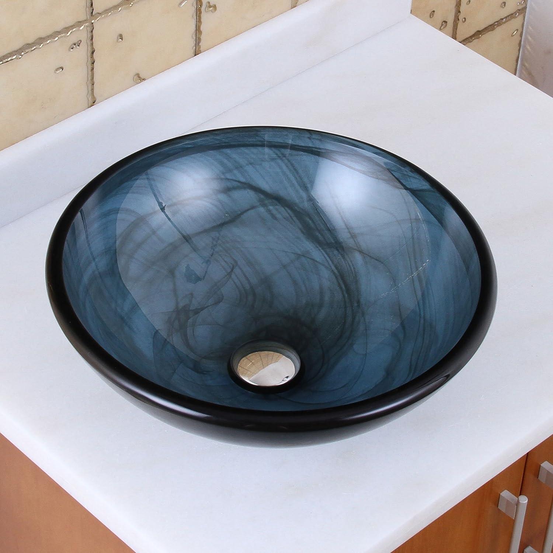 ELITE Bathroom Glass Vessel Sink w.Blue Swirls Textures for Faucet ...