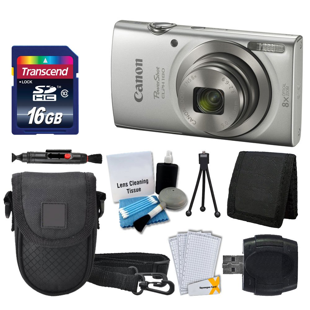Canon PowerShot ELPH 180 Digital Camera (Silver)   Transcend 16GB Memory Card   Point & Shoot Camera Case   USB Card Reader   LCD Screen Protectors   Memory Card Wallet   Cleaning Pen   Accessory Kit