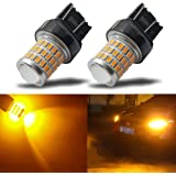 iBrightstar Newest 9-30V Super Bright Low Power 7440 7443 T20 LED Bulbs with Projector replacement for Turn Signal Lights or Brake Lights,Amber Yellow