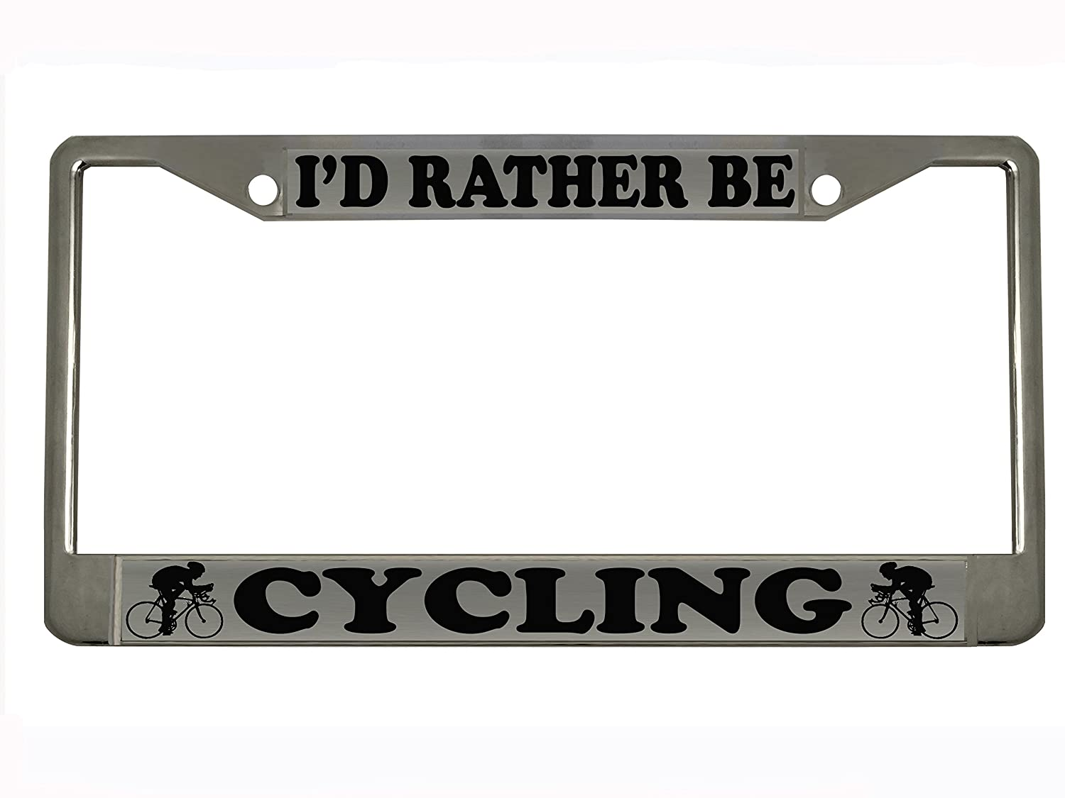Id Rather be Cycling Chrome Metal Auto License Plate Frame Car Tag Holder