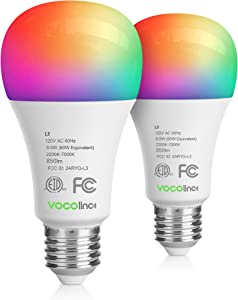 VOCOlinc Smart Wi-Fi LED Light Bulb A21 9.5W (60W Equiv.) Multicolor and Whites Dimmable Works with Apple HomeKit (iOS 13+) Alexa Google Assistant No Hub Required 2.4GHz SmartGlow (2 Pack)