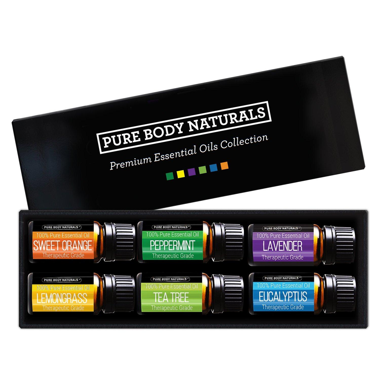 Pure Body Natural Essential Oils Set, 100% Pure Aromatherapy Diffuser Oils, Sampler Kit for Beginners, 6 Popular Oils - 10 Milliliter bottles