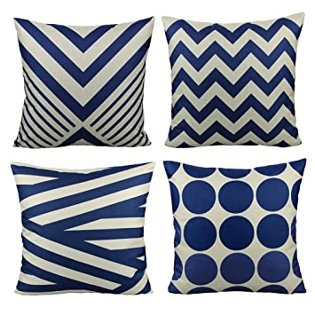 Remarkable All Smiles Navy Blue Outdoor Patio Throw Pillow Covers Cases Decorative For Couch Sofa Furniture Home Decor Geometric Accent Cushion Square 1818 Set Pabps2019 Chair Design Images Pabps2019Com