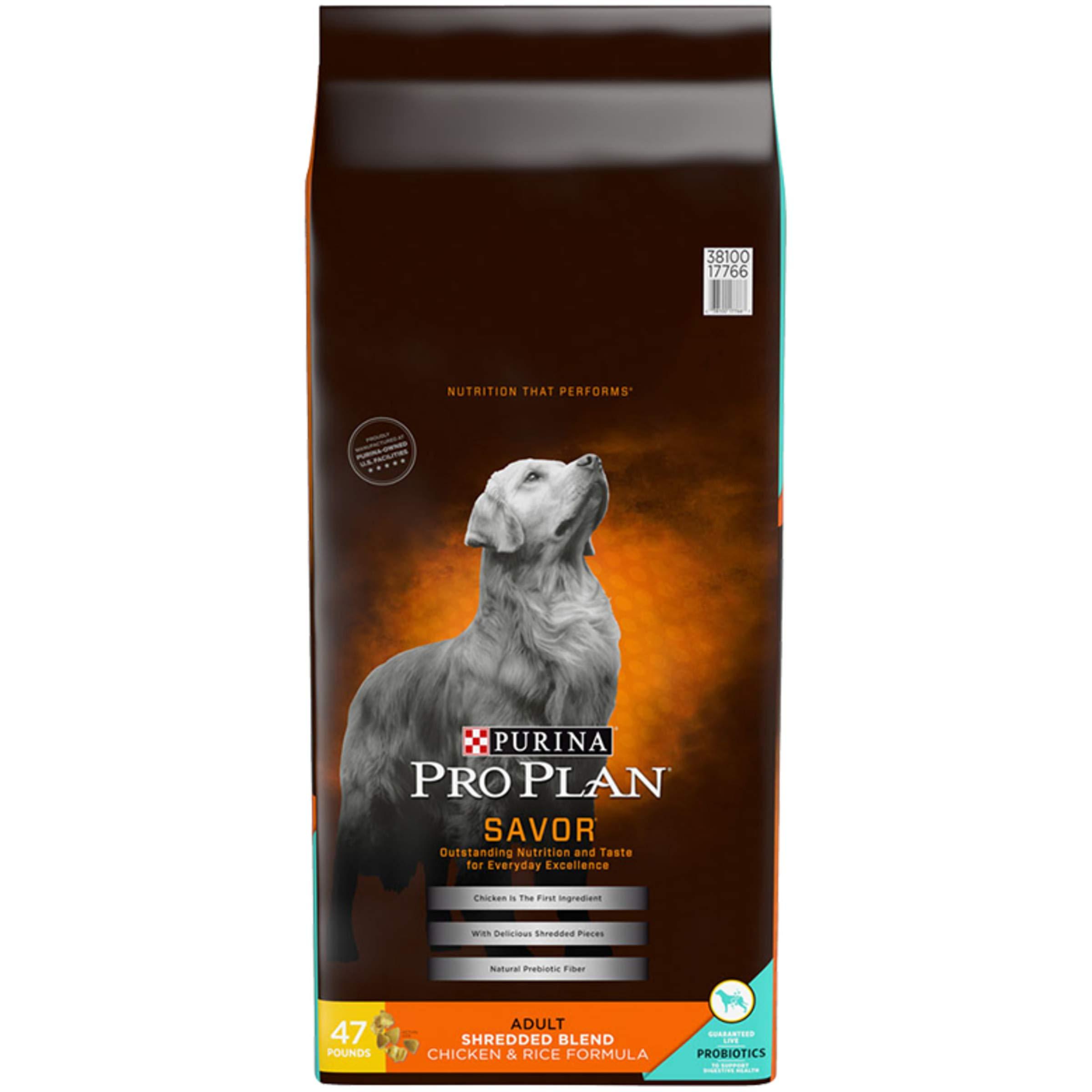 Purina Pro Plan With Probiotics Dry Dog Food, SAVOR Shredded Blend Chicken & Rice Formula - 47 lb. Bag by PURINA Pro Plan