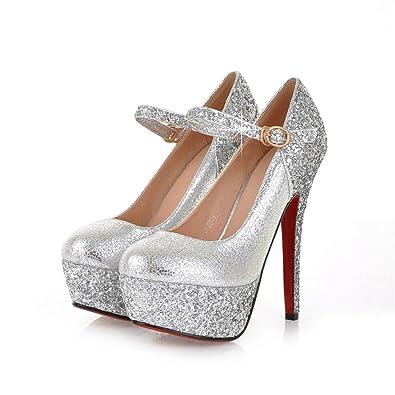 UH Frauen Leder-Rote Untere Absatz-Buckle 14CM Sequin-Plattform Diskothek Fashion Sexy Pumps Schuhe (34, Silber)