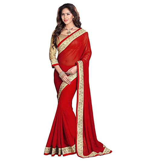 3d59682efc Dancing Girl Red Georgette Embroidered Party Wear Saree with Blouse   Amazon.in  Clothing   Accessories