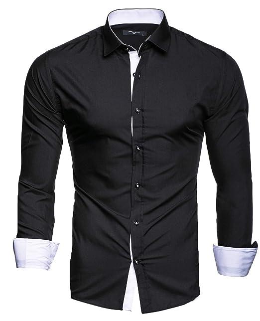 05196a18345b Kayhan Originale Uomo Camicia Slim Fit Facile Stiro Cotone Maniche Lungo S  M L XL XXL 2XL -Modello K-2FACE: Amazon.it: Abbigliamento