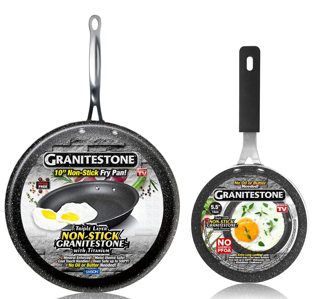 GRANITESTONE 10'' Frying Pan Skillet with 5.5'' Eggpan, Non-stick, No-warp, Mineral-enforced, PFOA-Free, Dishwasher-safe As Seen On TV