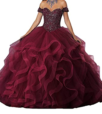 8162e8ae66230 Jurong Women's Appliques High Neck Beads Long Pageant Quinceanera Dresses  at Amazon Women's Clothing store: