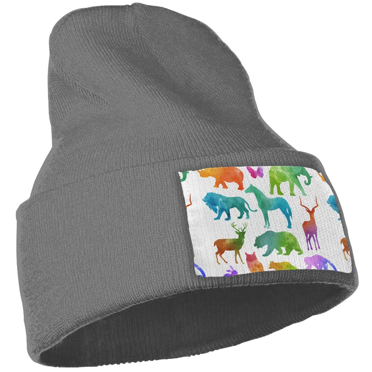 Colorful Animal Men /& Women Skull Caps Winter Warm Stretchy Knitting Beanie Hats