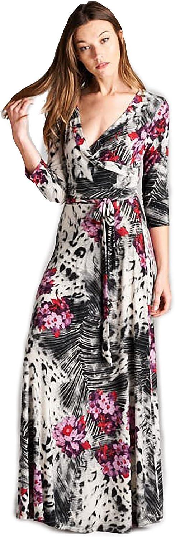 Tua USA 3 4 Sleeve Exotic Maxi Bohemian Stretch Direct store Wrap Print Financial sales sale Knit