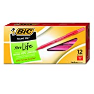 BIC Round Stic Xtra Life Ballpoint Pen, Medium Point (1.0mm), Red, 12-Count