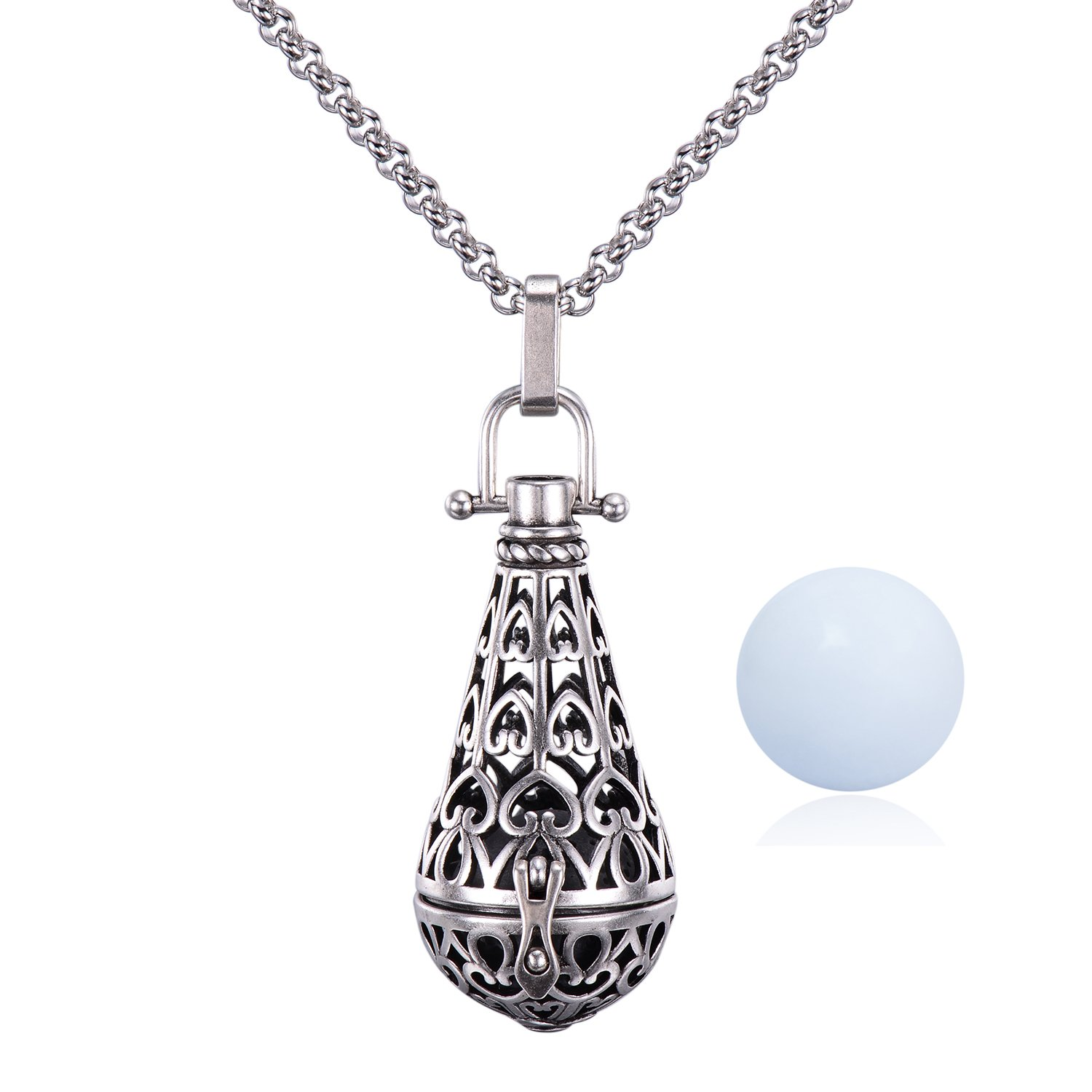 Antique Silver Teardrop Pendant 16MM Harmony Music Ball Mexican Bola Locket Pregnancy Necklace 30