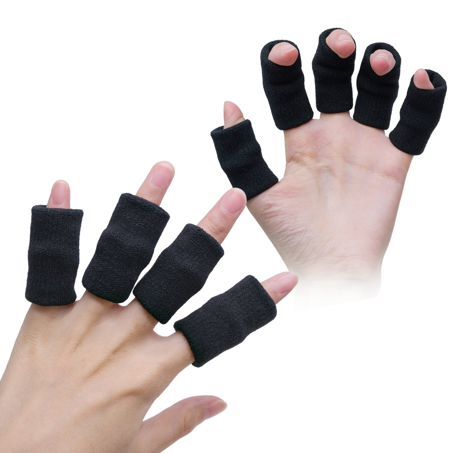 10 Pieces Finger Sleeves Elastic Finger Support Finger Brace Protector for Outdoor Activities