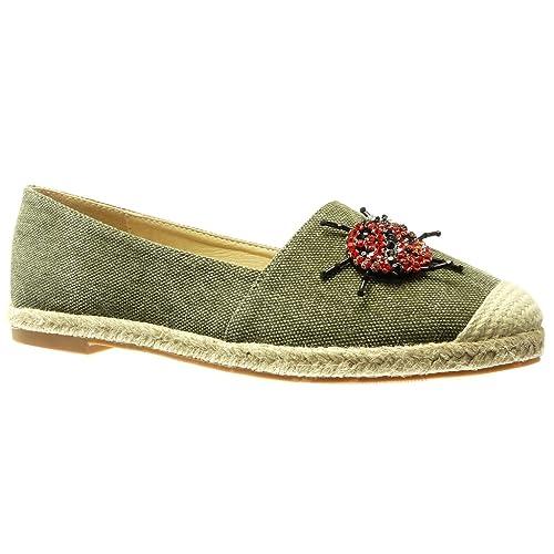 Angkorly - Zapatillas Moda Alpargatas Mocasines Slip-on Jeans Denim Mujer Joyas Bordado fantasía Tacón Ancho 2 CM: Amazon.es: Zapatos y complementos