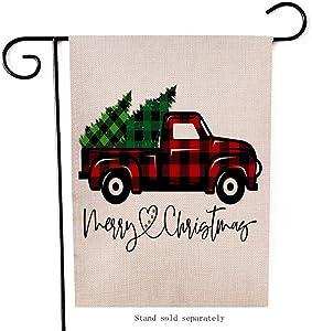 Artofy Merry Christmas Garden Flag, Decorative Xmas Outdoor Flag Sign with Buffalo Check Plaid Truck Red Black, Rustic Burlap House Yard Flag Winter Outside Decoration Holiday Home Decor Flag 12 x 18