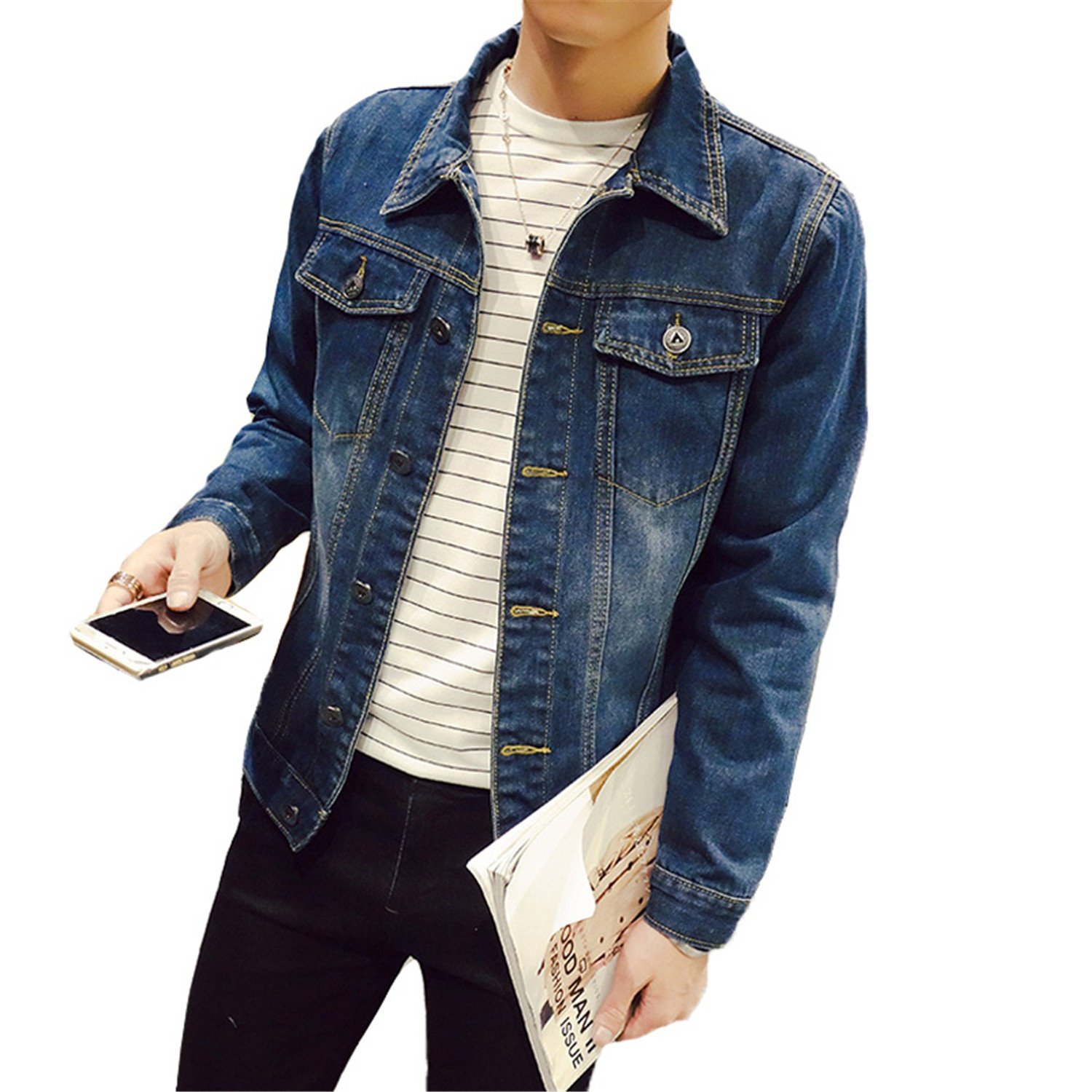 Beancan Solid Casual Slim Mens Denim Jacket Plus Size S-4XL 5XL Jacket Men Cowboy Mens Jean Jacket Chaqueta Hombre at Amazon Mens Clothing store: