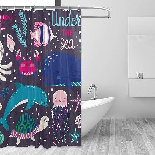 Shower Curtain Beautiful Sea Animal Octopus Whale Waterproof Bathroom With Hooks