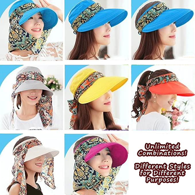 76dde3aa5eb LOCOMO Detachable Top Neck Cover Mask Sun Visor Wide Brim Hat Cap FFH323BEI  at Amazon Women s Clothing store