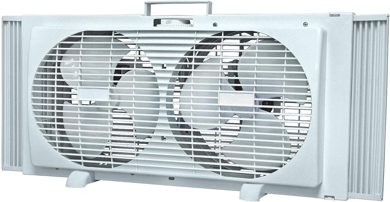 """UNIWARE 9"""" Portable Twin Window Fan w/ 2 Speed Dial Control w/ETL"""