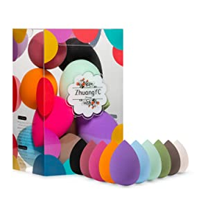 10 Pack Makeup Blenders Foundation Blending Sponges, Cosmetic Tools (Black)