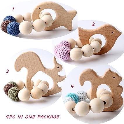 Baby Nursing Bracelets Wooden Teether Beads Teething Wood Rattles Toy DP