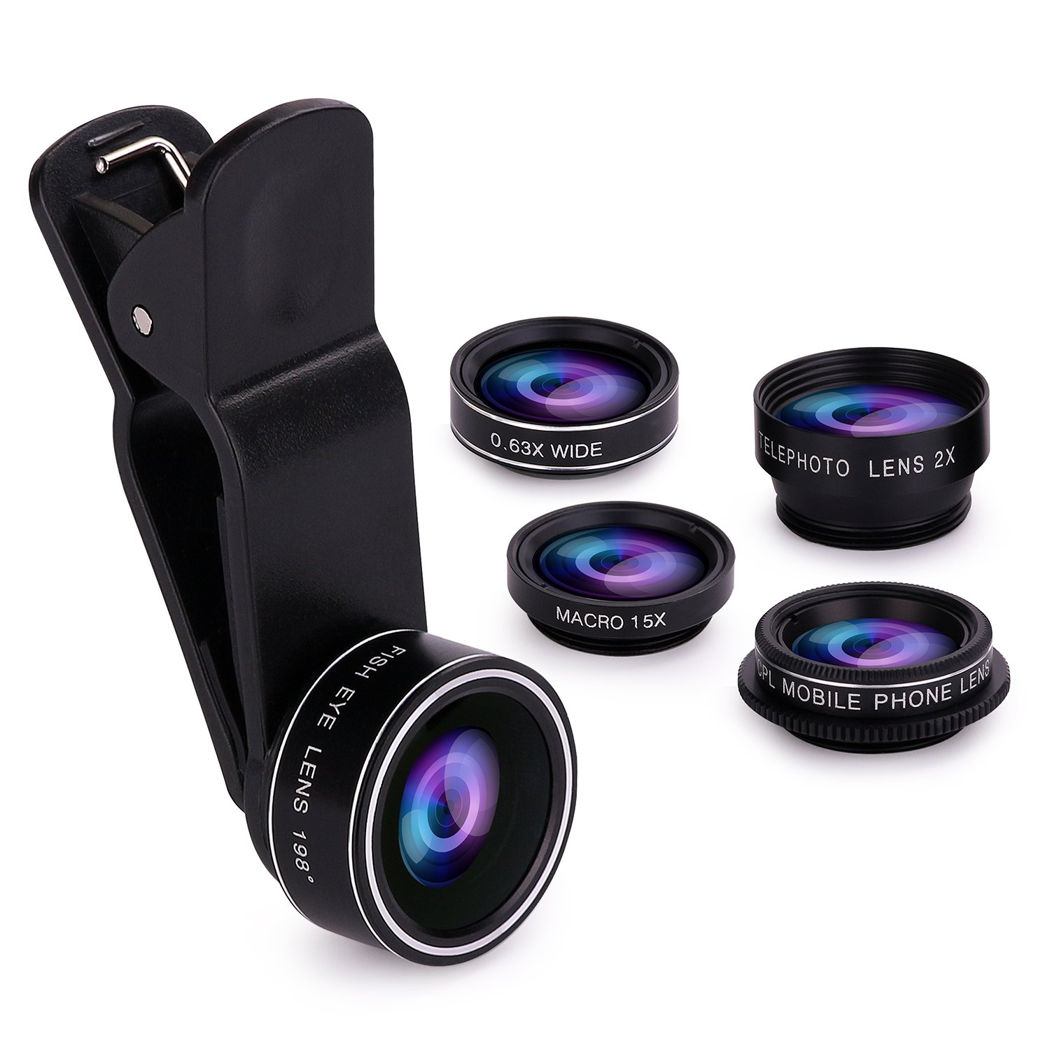 Cell Phone Camera Lens Kit, SEVENKA 11 in 1 Super Wide Angle+Macro+ Fisheye+Telephoto+CPL/Flow/Radial/Star/Soft Filter+Kaleidoscope Lens Compatible for iPhone, Samsung, Sony, and Android Smartphone GC-11X Lens Kit