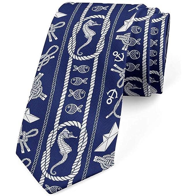 Corbata, viaje en velero caballito de mar, corbata de vestir, azul ...