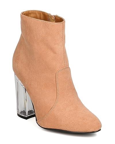 GA34 Women Faux Suede Pointy Toe Lucite Block Heel Bootie