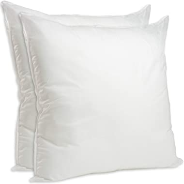 Set of 2-28 x 28 Premium Hypoallergenic European Sleep Pillow Inserts Sham Square Form Polyester, Standard/White - Made in USA